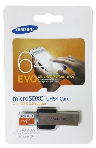 כרטיס זיכרון GB 64 microSD + קורא כרטיסים