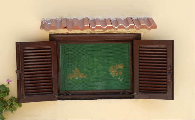חלון עם רשת ירוקה