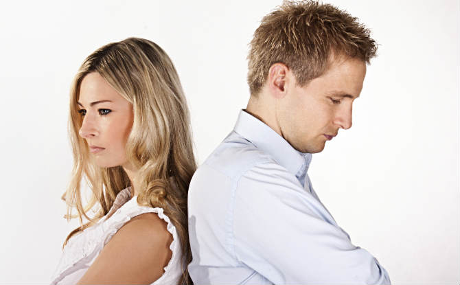 גבר ואישה לפני גירושין